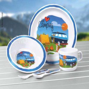 set piatti melammina bambino love camping caravanbacci