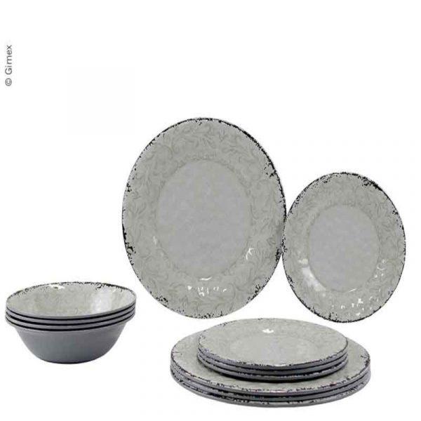 set piatti melammina stone sand caravanbacci