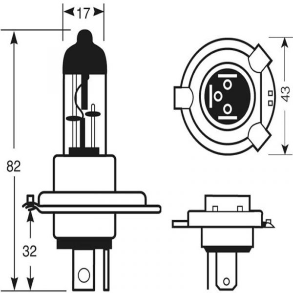 Lampada Alogena Fari H4 Misure - Caravanbacci