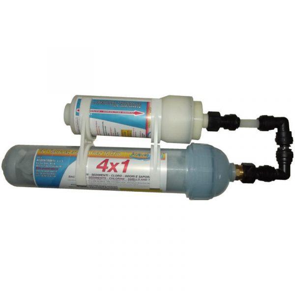 kit purificazione acqua filtro small+ filtro carboni attivi 4x1 caravanbacci