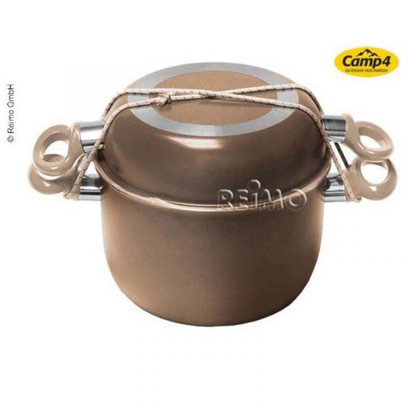 set pentole alluminio 7 pezzi marroni dorate caravanbacci