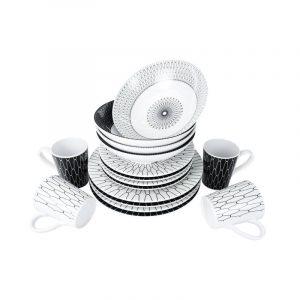 set piatti melammina bianco e nero caravanbacci