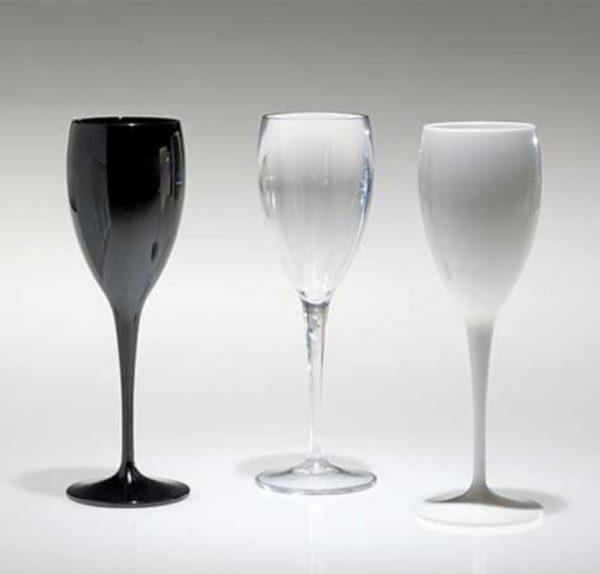 flute 17 cl. in policarbonato lucido bianco o nero caravanbacci