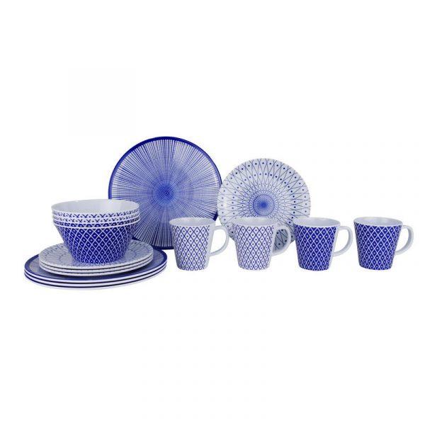 set piatti melammina bianco blu per 4 persone caravanbacci