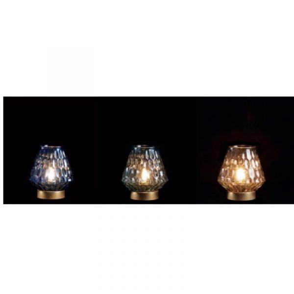 lanterna in vetro colorato e lampada a led caravanbacci