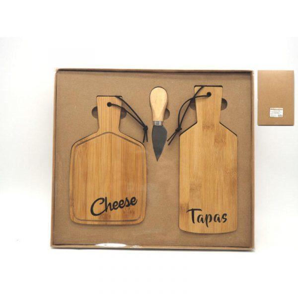 set due taglieri rettangolari bamboo con coltello caravanbacci