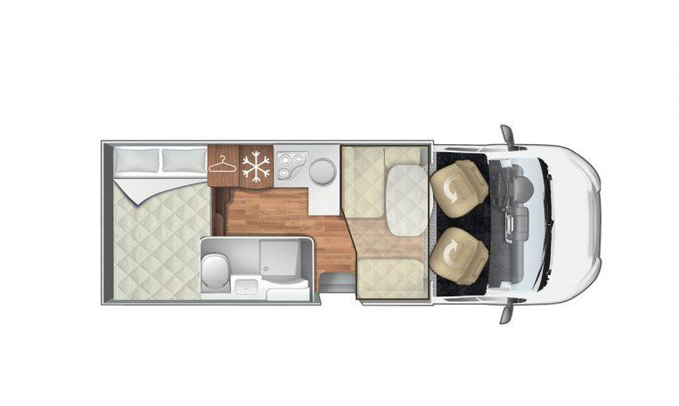 Disegno piantina camper visuale dall'alto | Caravanbacci.com